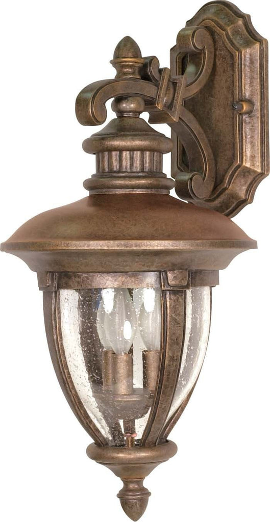 Nuvo Galeon - 3 Light - 24 inch - Wall Lantern - Arm Down w/ Clear Seed Glass