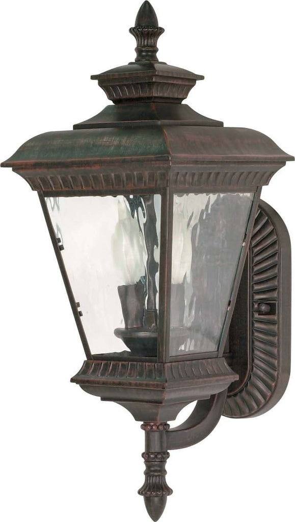 Nuvo Charter - 2 Light - 21 inch - Wall Lantern - Arm Up w/ Clear Water Glass