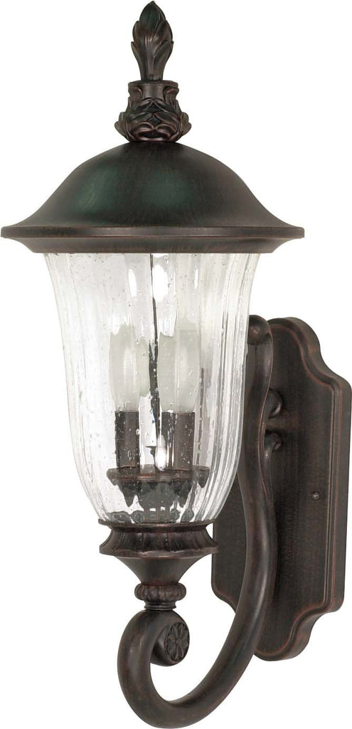 Nuvo Parisian - 2 Light - 22 inch - Wall Lantern - Arm Up w/ Fluted Seed Glass