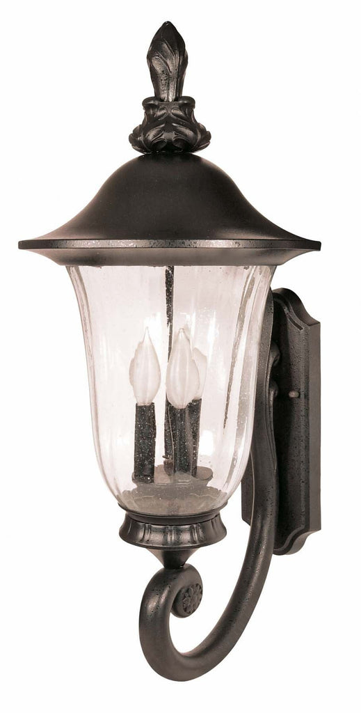 Nuvo Parisian - 3 Light - 29 inch - Wall Lantern - Arm Up w/ Fluted Seed Glass