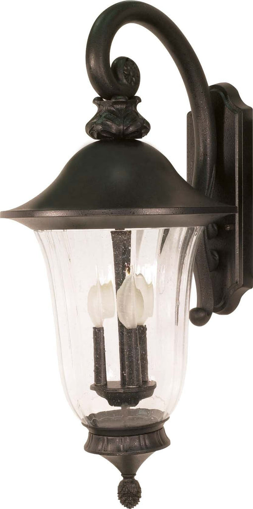 Nuvo Parisian - 3 Light - 27 inch - Wall Lantern - Arm Down w/ Fluted Seed Glass