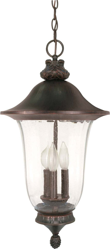 Nuvo Parisian - 3 Light - 24 inch - Hanging Lantern - w/ Fluted Seed Glass