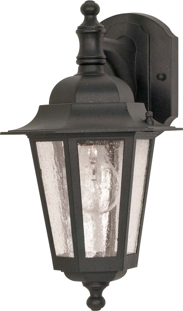 Nuvo Cornerstone - 1 Light - 13 inch - Wall Lantern - Arm Downw/ Clear Seed Glass