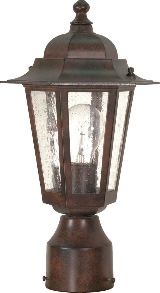 "Nuvo Cornerstone 1-Light 14"" Old Bronze Post Lantern w/ Clear Seeded Glass"