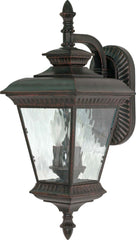 Nuvo Charter - 2 Light - 22 inch - Wall Lantern - Arm Down w/ Clear Water Glass