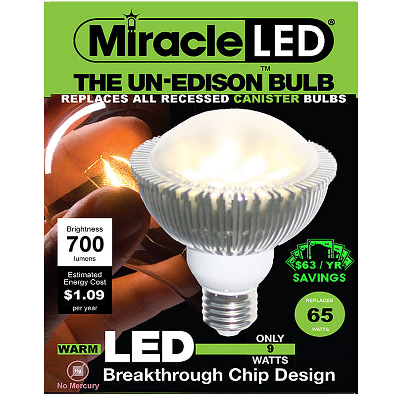 Miracle LED Un-Edison 9w 120v NASA PAR30 Reflector Warm White LED Light Bulb