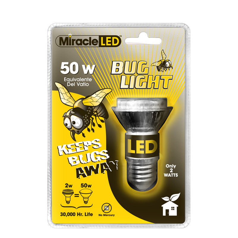 MiracleLED Yellow Bug Light Ultra saver 2W 120v equiv - 50W LED Light Bulb