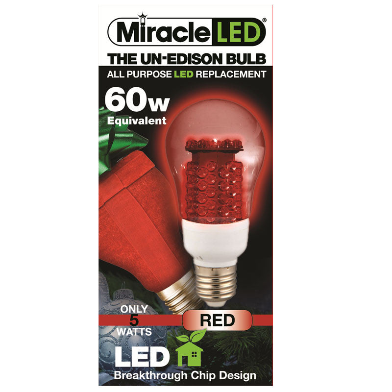 Miracle LED Un-Edison 5w 120v Clear Red Holiday E26 LED Household Light Bulb