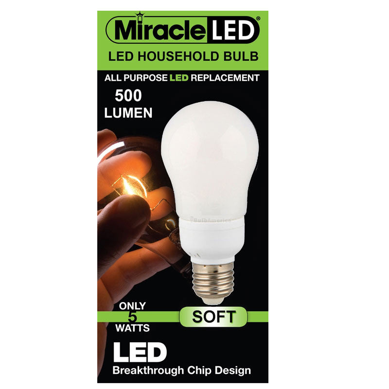 Miracle LED Household 5w 120v Frosted Soft White E26 All Purpose LED Light Bulb