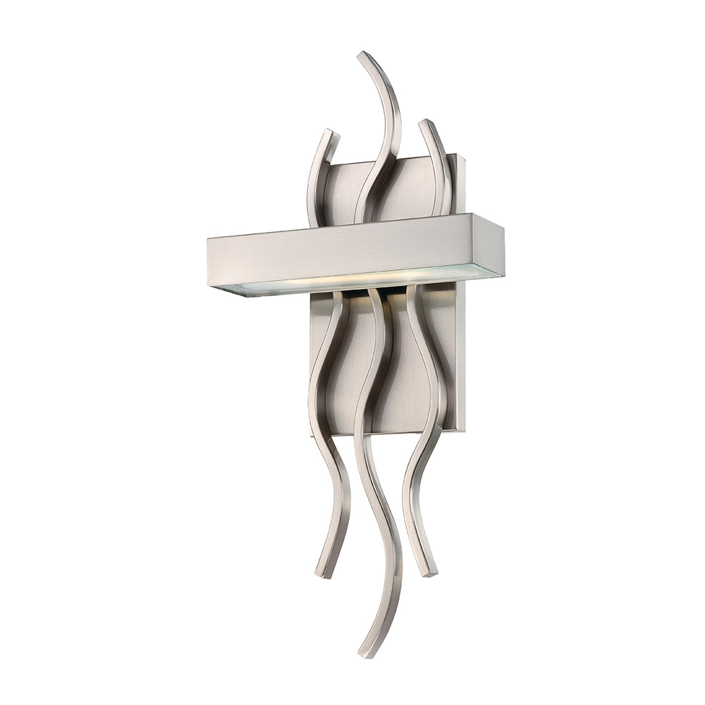 "Nuvo Wave 1 Module 7.88"" LED Wall Sconce in Brushed Nickel Finish"