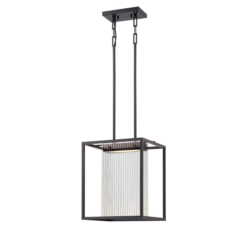 Bin - 1 Module Island Pendant w/ Clear Ribbed Glass