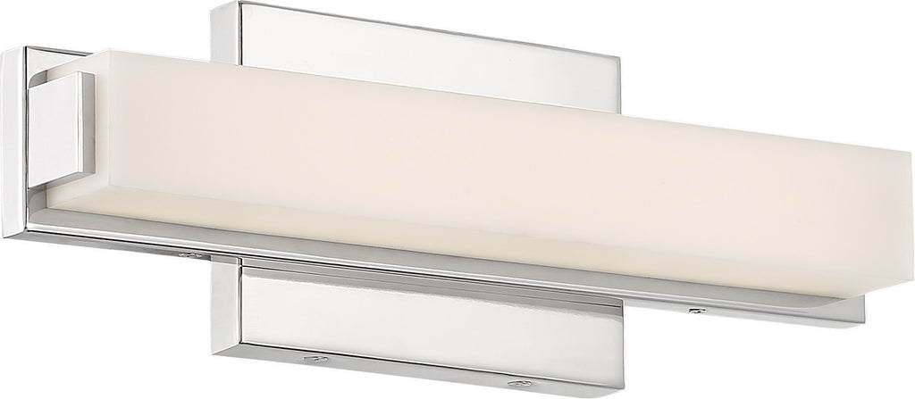 "Nuvo Slick 1-Light 13"" LED Vanity w/ White Acrylic Diffuser in Polished Nickel"