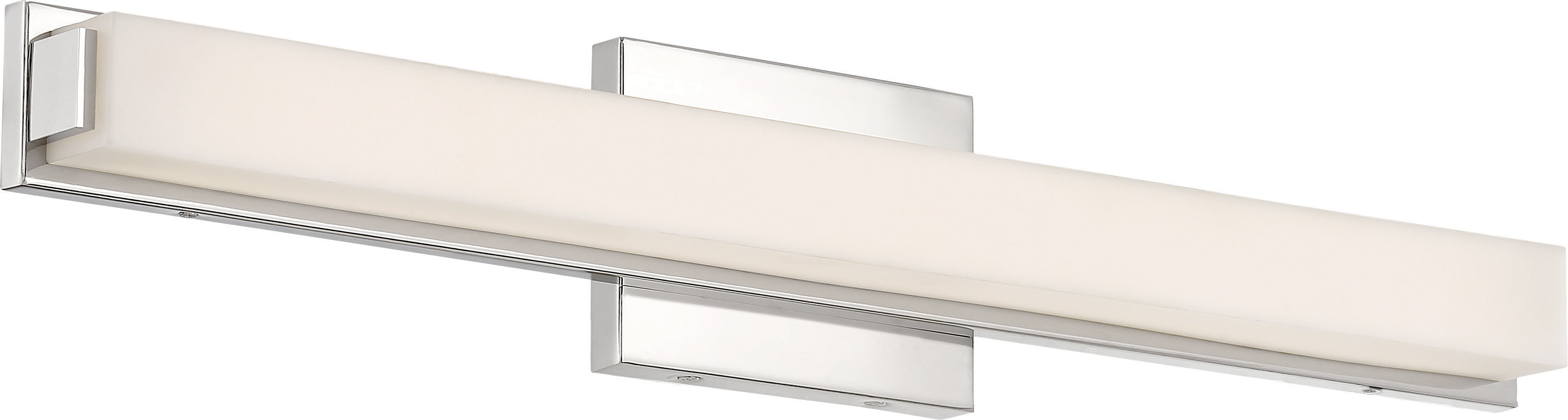 """Nuvo Slick 1-Light 25"""" LED Vanity w/ White Acrylic Diffuser in Polished Nickel"""