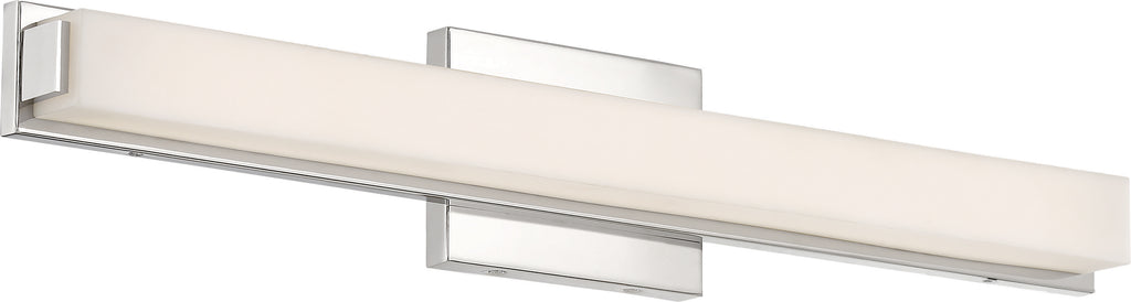 "Nuvo Slick 1-Light 25"" LED Vanity w/ White Acrylic Diffuser in Polished Nickel"