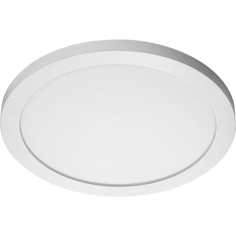 26W 15 in. Flush Mount LED Fixture 4000K Round Shape White Finish 120/277V