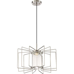 "Nuvo Wired 1-Light 12w 20"" LED Pendant w/ Clear Glass in Brushed Nickel Finish"