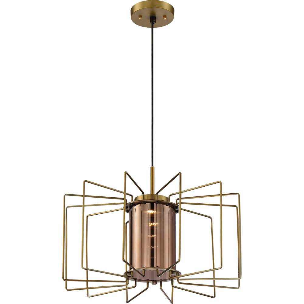 "Nuvo Wired 1-Light 12w 20"" LED Pendant w/ Copper Glass in Vintage Brass Finish"