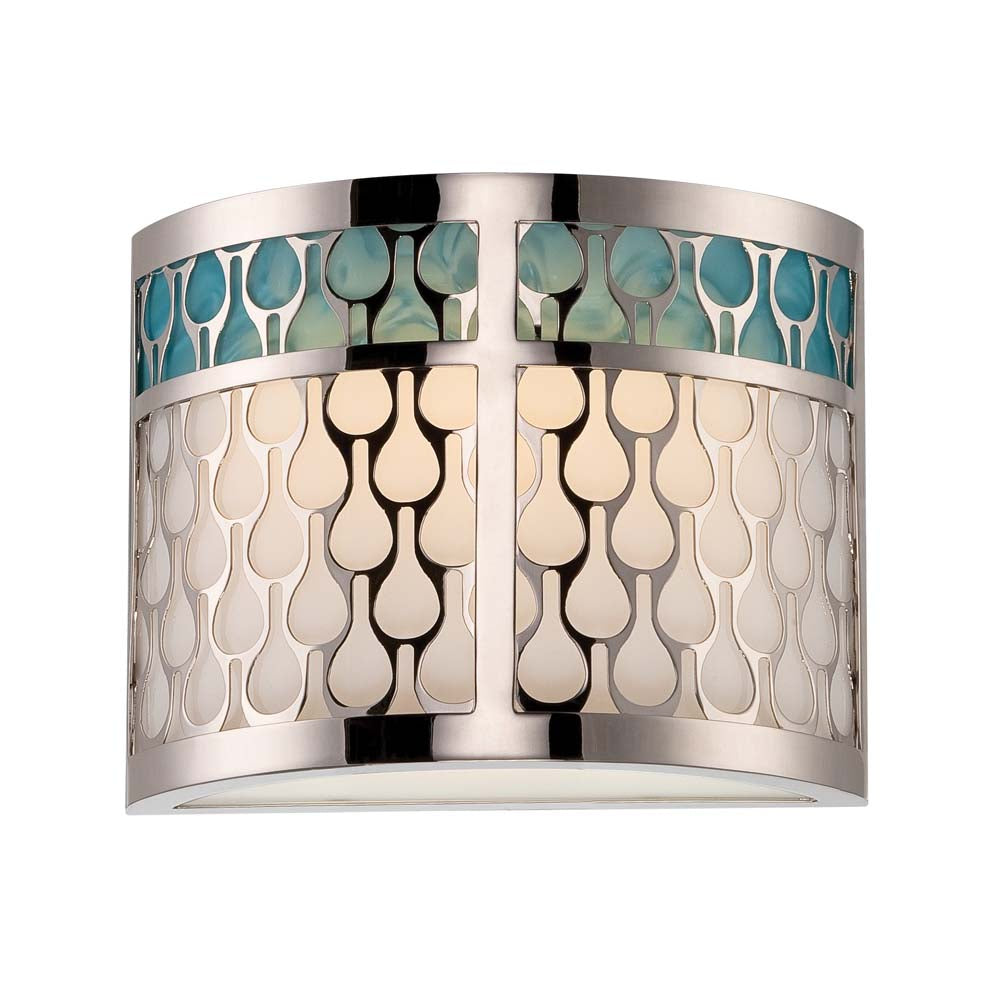 Raindrop - 1 Module Sconce w/ White Glass and removable Aquamarine insert