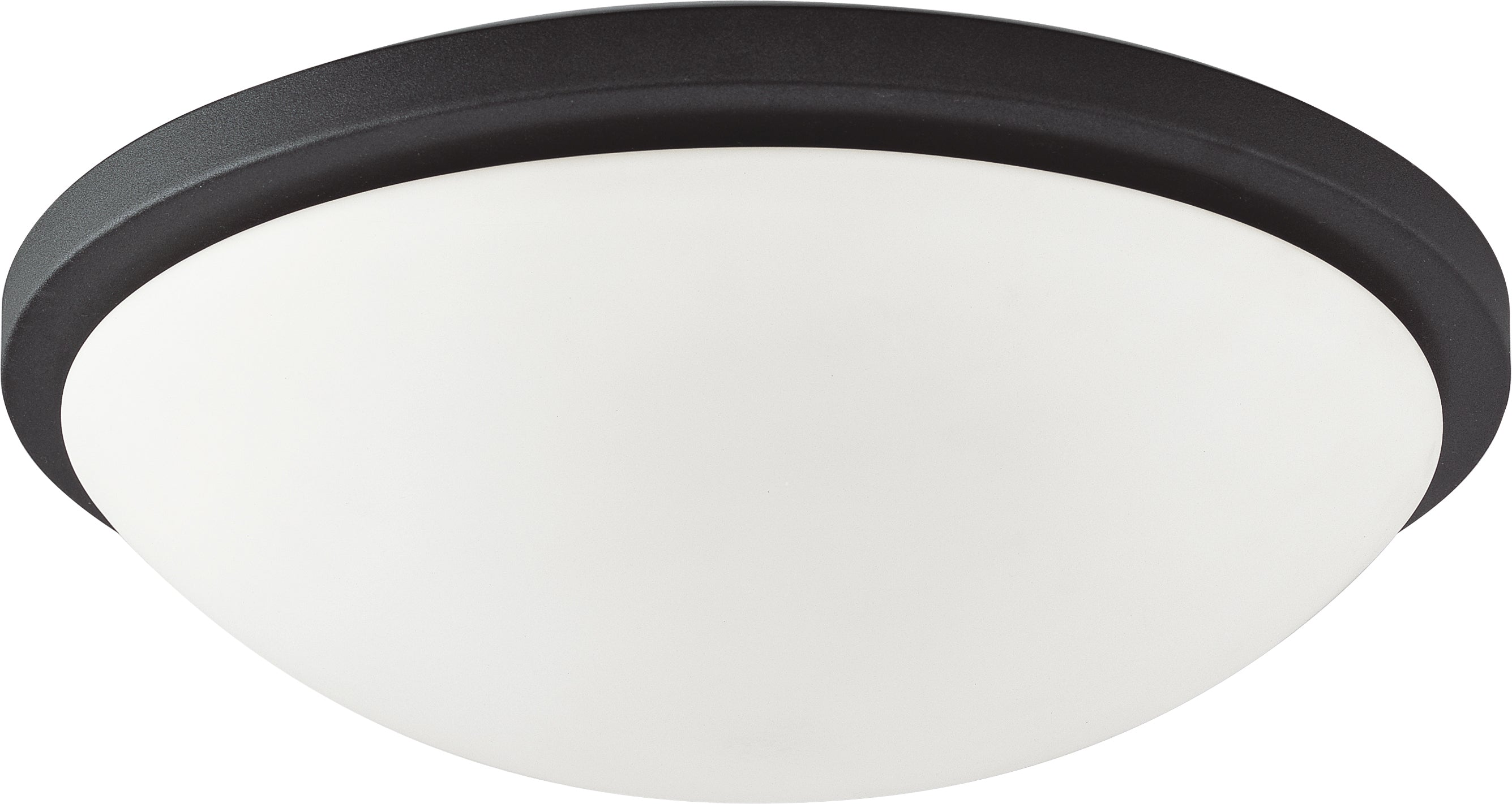 """Nuvo Button 18w 11"""" LED Flush Mount w/ Frosted Glass in Matte Black Finish"""