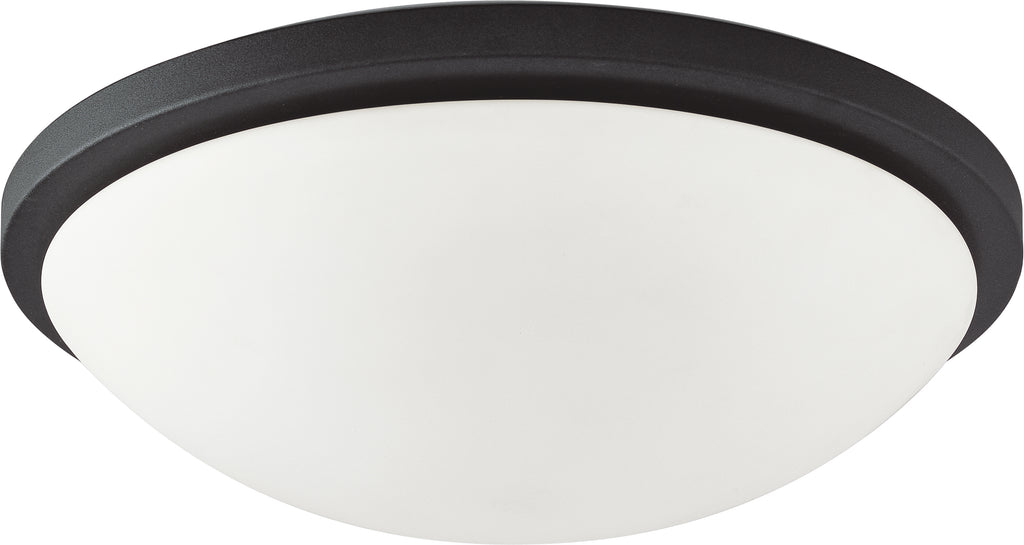Nuvo 25w Glamour Close-To-Ceiling Flush 120v Black & Satin White Glass 3000k