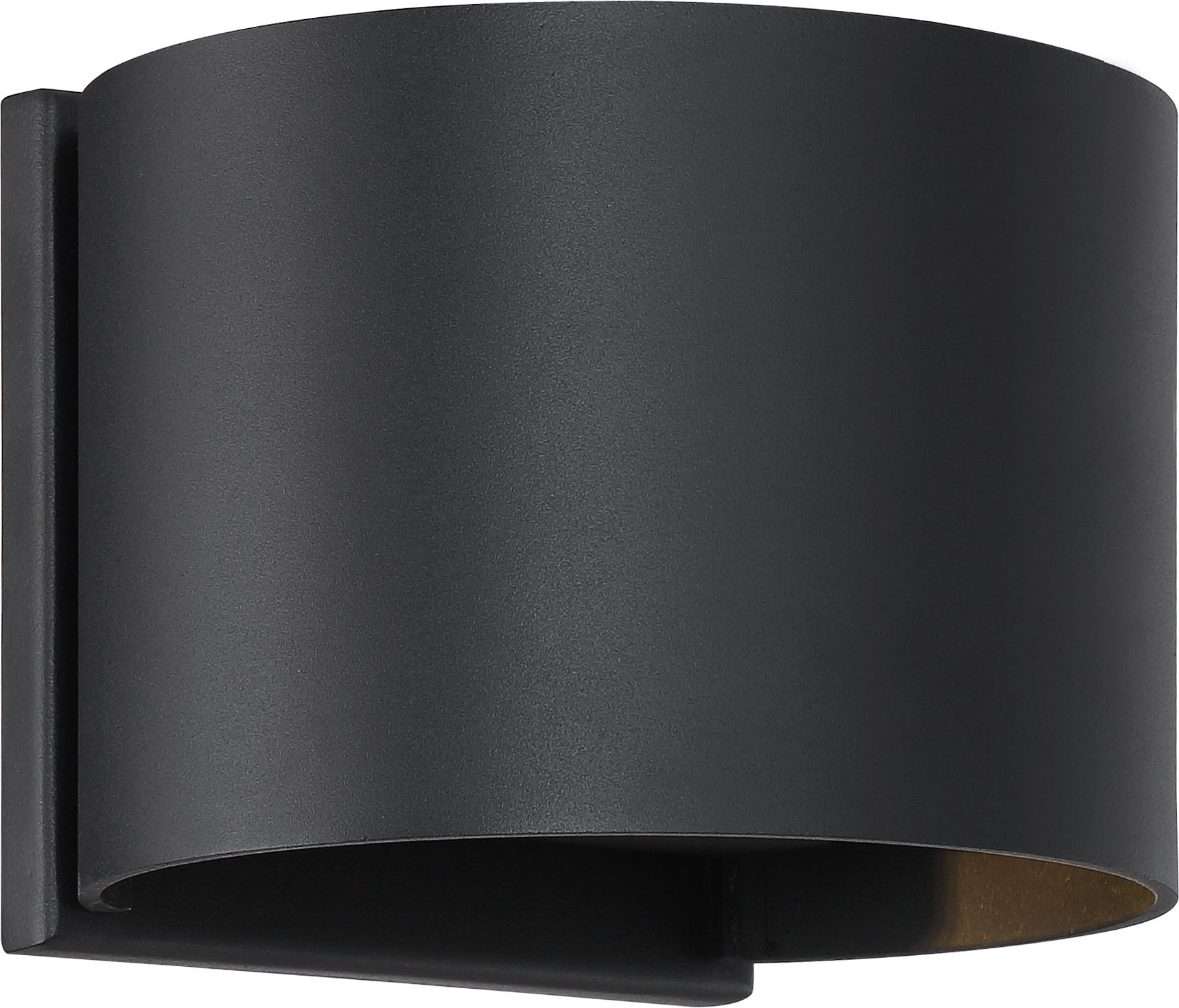 Nuvo Lightgate 1-Light 5w LED Wall Round Sconce w/ Black & Clear Ribbed Glass