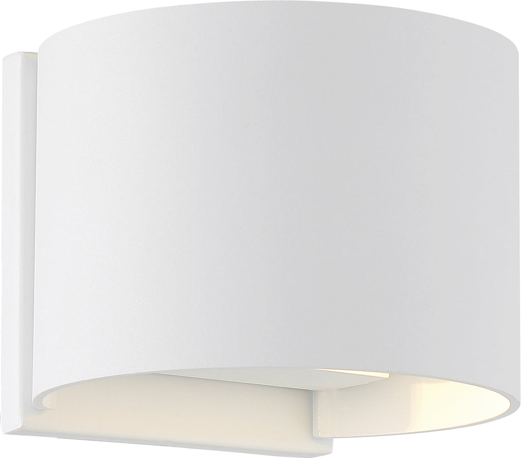 Nuvo Lightgate 1-Light 5w LED Wall Round Sconce w/ White & Clear Ribbed Glass
