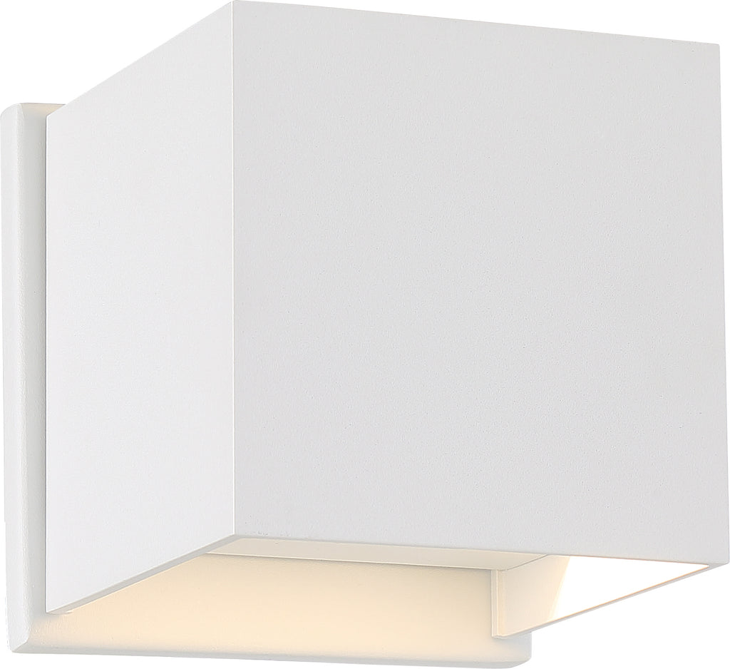 Nuvo Lightgate 1-Light 5w LED Wall Square Sconce w/ White & Clear Ribbed Glass