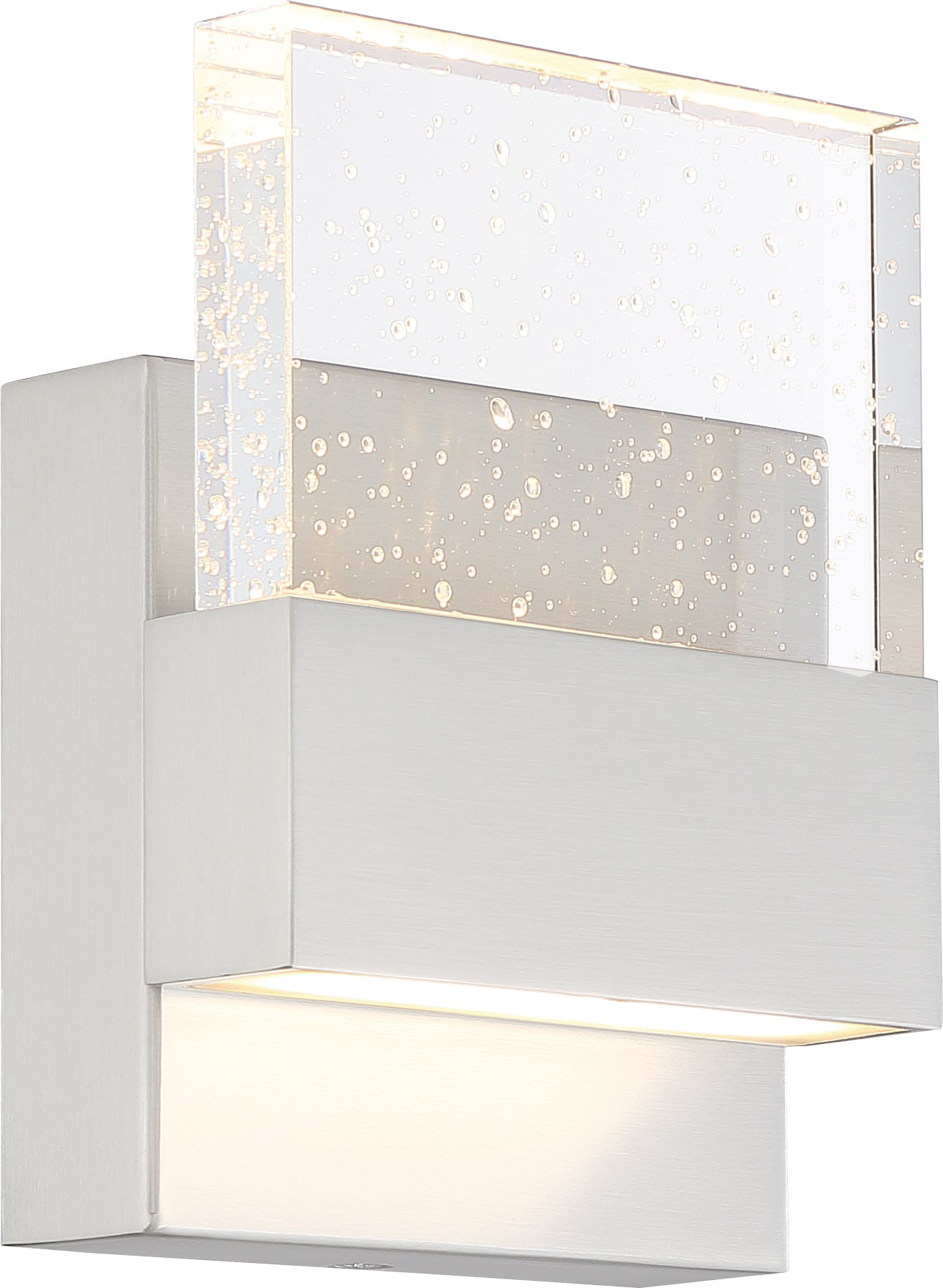 Nuvo Ellusion 15w LED Small Wall Sconce w/ Seeded Glass in Polished Nickel