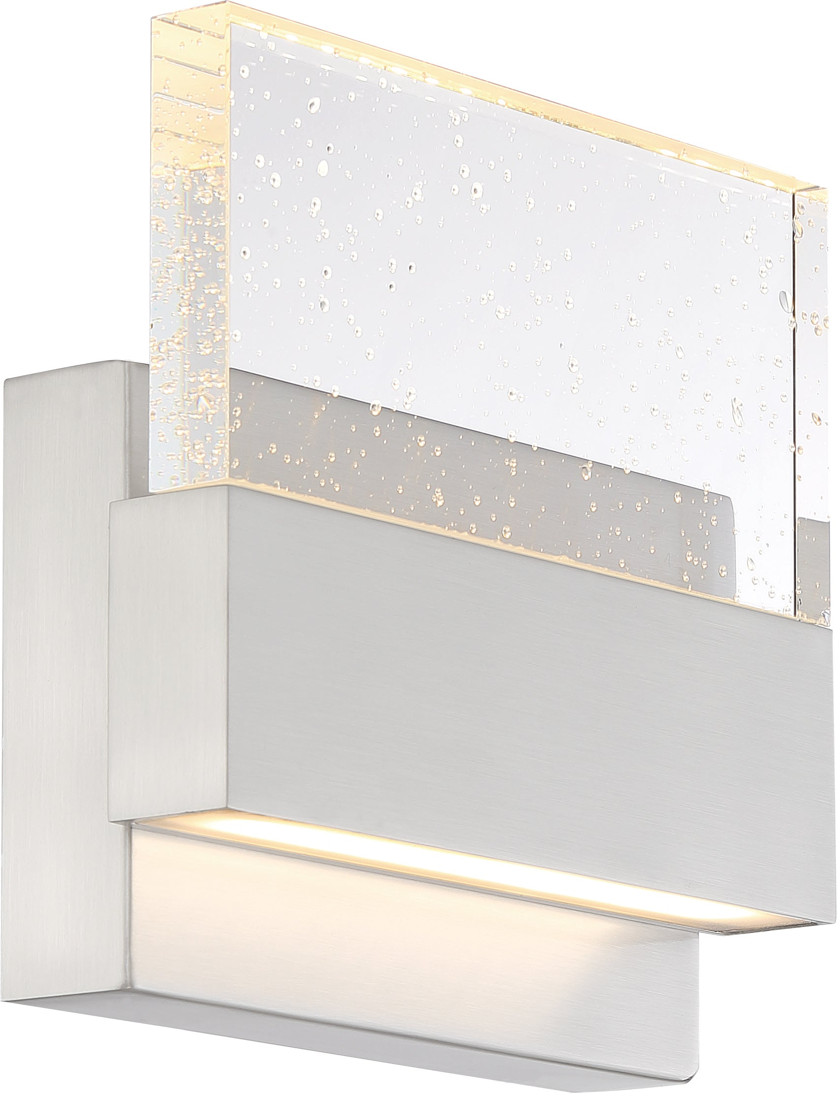 Nuvo Ellusion 15w LED Medium Wall Sconce w/ Seeded Glass in Polished Nickel