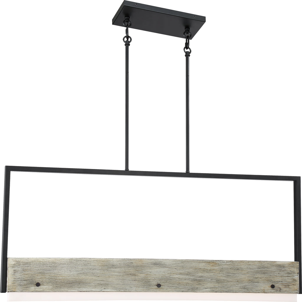 Nuvo 39w LED Module Alta Island Pendants 1-Light 120v Black Gray Wood 3000k