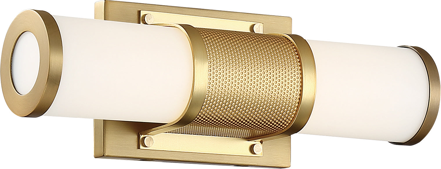 Nuvo 13w LED Module Caper Wall 1-Light 120v Brushed Brass & Frosted Lens 3000k