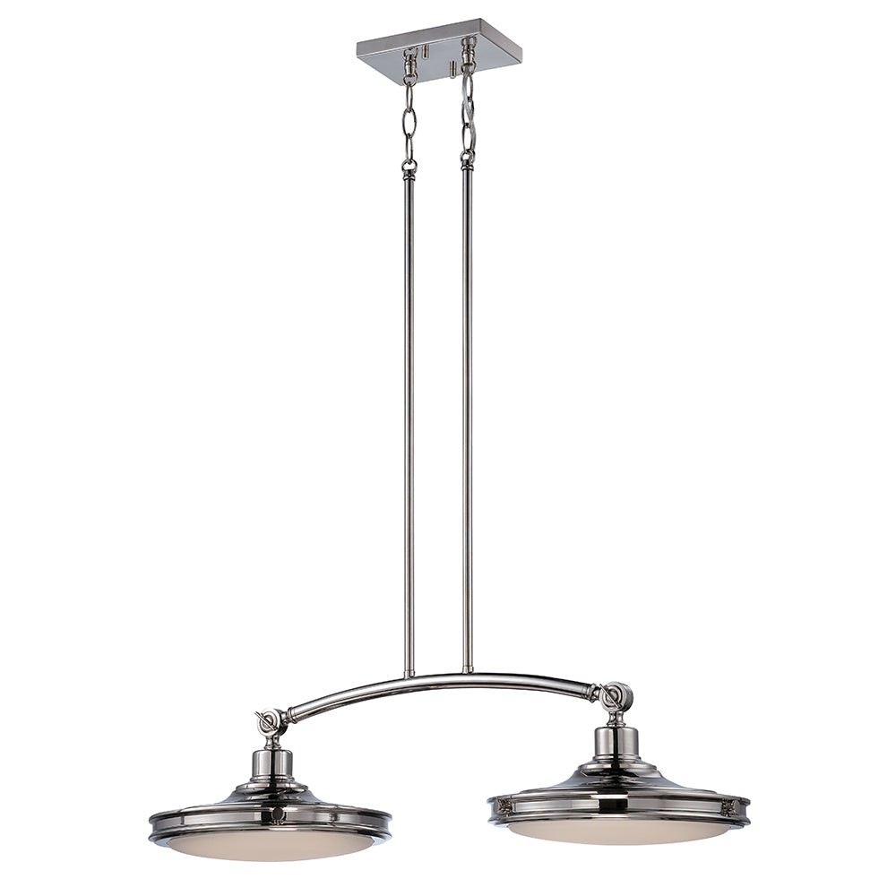 Houston 2-Lights LED Island Pendant Light Fixture - Polished Nickel Finish