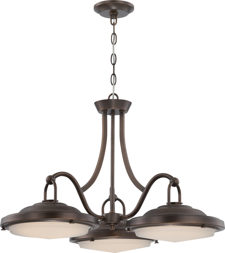 "Nuvo Sawyer 60w 29"" LED Dinette Fixture in Antique Brass Finish"