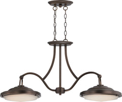 "Nuvo Sawyer 2-Light 40w 11.75"" LED Island Pendant in Antique Brass Finish"