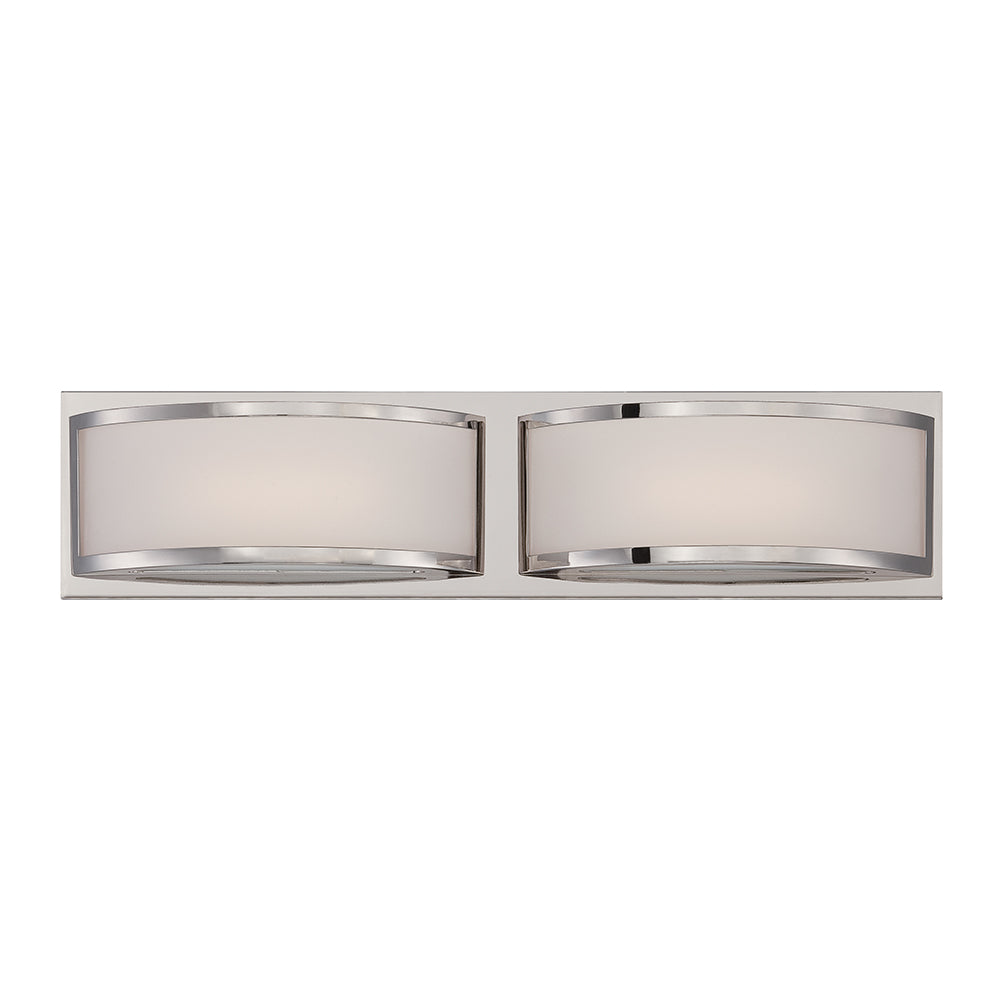 Nuvo Mercer 2-Light LED Vanity Wall Sconce w/ Frosted Glass in Polished Nickel