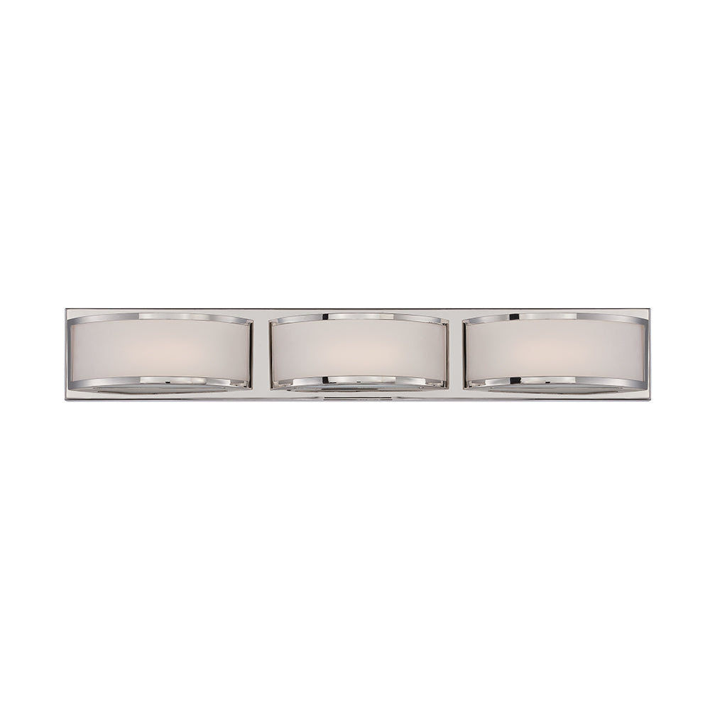 Nuvo Mercer 3-Light LED Vanity Wall Sconce w/ Frosted Glass in Polished Nickel