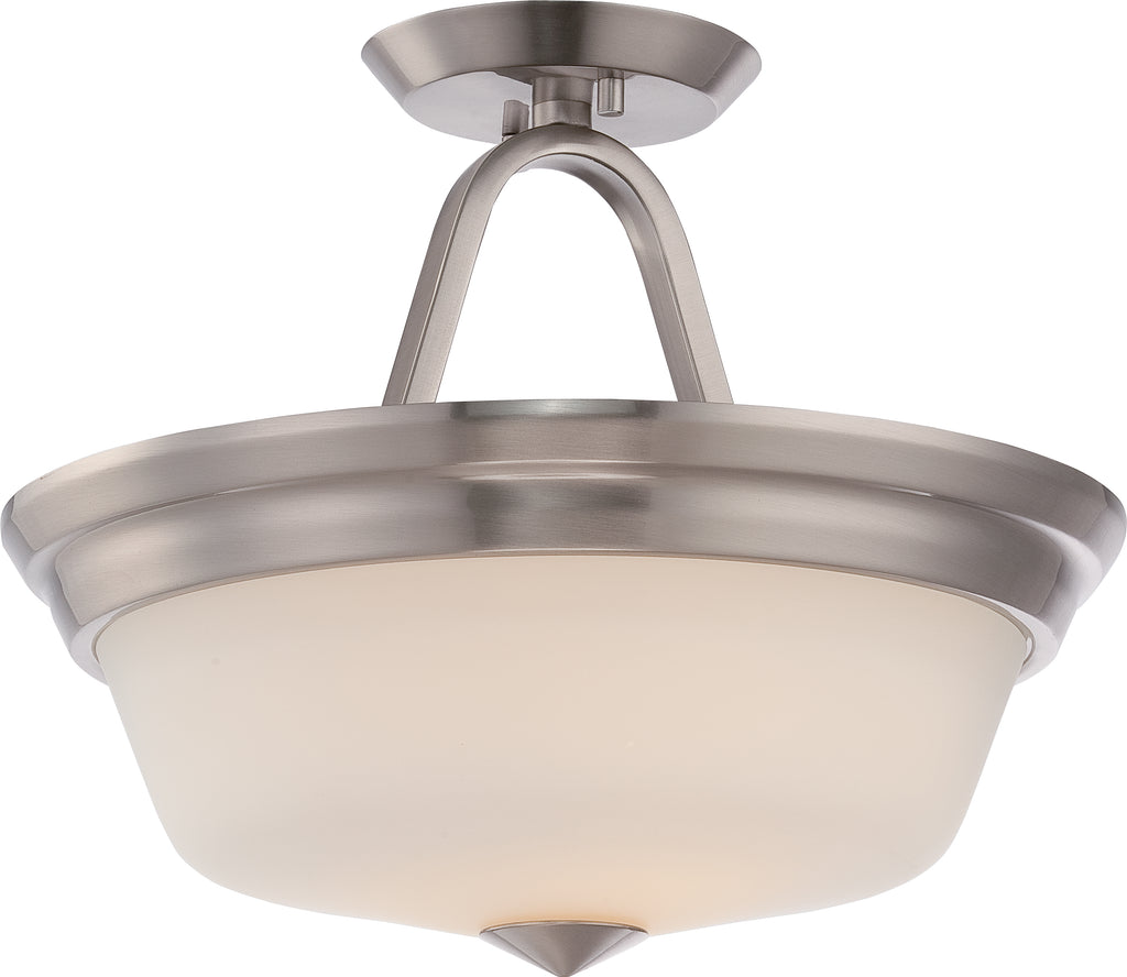 Calvin - 2 Light Semi Flush w/ Satin White Glass - LED Omni Included