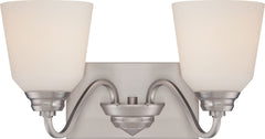 Calvin 2-Light Wall Mounted Vanity & Wall Light Fixture in Brushed Nickel Finish
