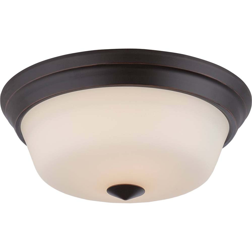 Nuvo Calvin 2-Light LED Flush Mounted w/ Satin White Glass in Mahogany Bronze