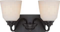 Calvin 2-Light Wall Mounted Vanity & Wall Light Fixture in Mahogany Bronze