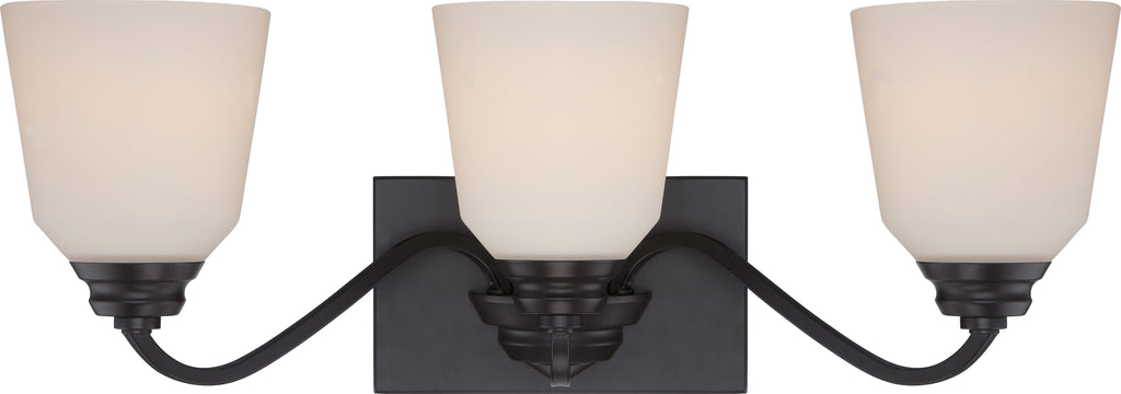 Calvin 3-Light Wall Mounted Vanity & Wall Light Fixture in Mahogany Bronze