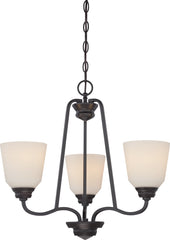 Calvin 3-Light Hanging Mounted Chandelier Light Fixture in Mahogany Bronze