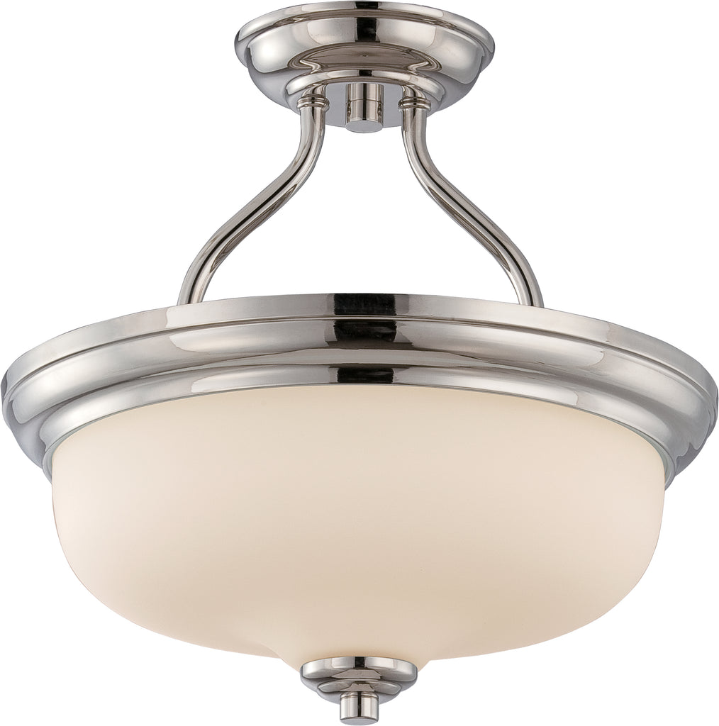 Kirk - 2 Light Semi Flush w/ Etched Opal Glass - LED Omni Included