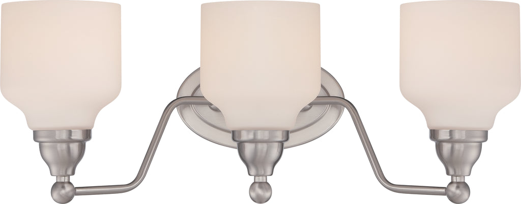 Kirk 3-Light Wall Mounted Vanity & Wall Light Fixture in Polished Nickel