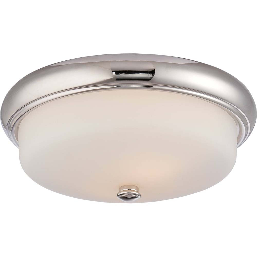 Nuvo Dylan 2-Light Flush Fixture w/ Etched Opal Glass in Polished Nickel Finish