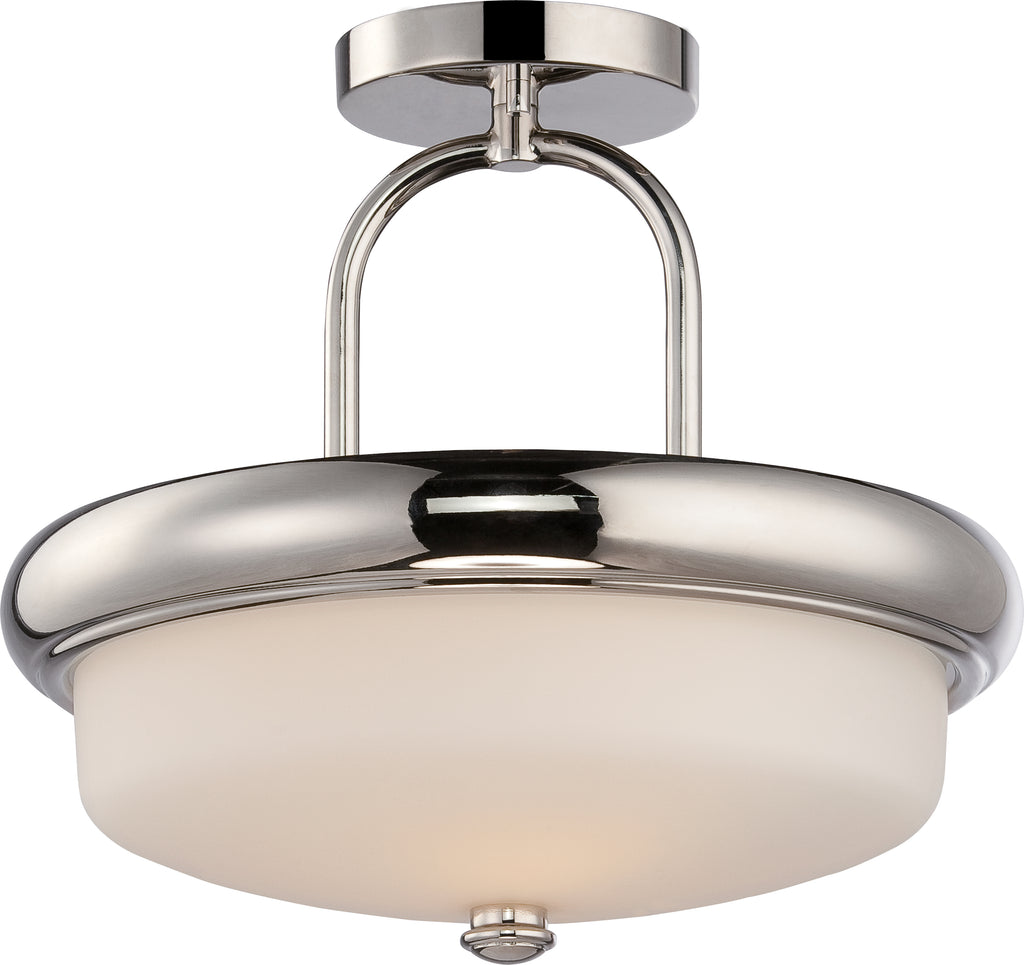 Nuvo Dylan 2-Light Semi Flush w/ Etched Opal Glass in Polished Nickel Finish