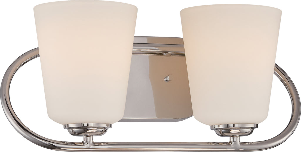 Dylan 2-Light Wall Mounted Vanity & Wall Light Fixture in Polished Nickel