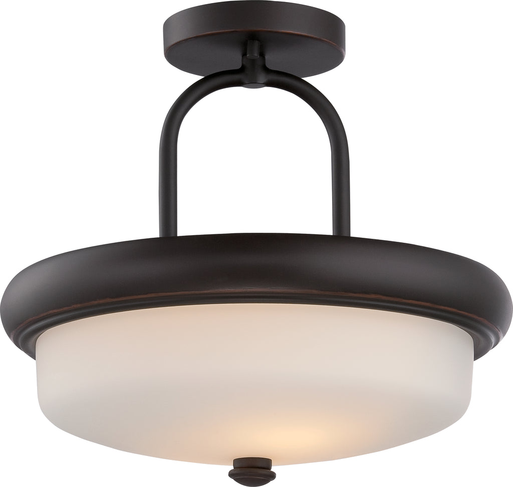 Nuvo Dylan 2-Light Semi Flush w/ Etched Opal Glass in Mahogany Bronze Finish