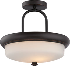Dylan - 2 Light Semi Flush w/ Etched Opal Glass - LED Omni Included