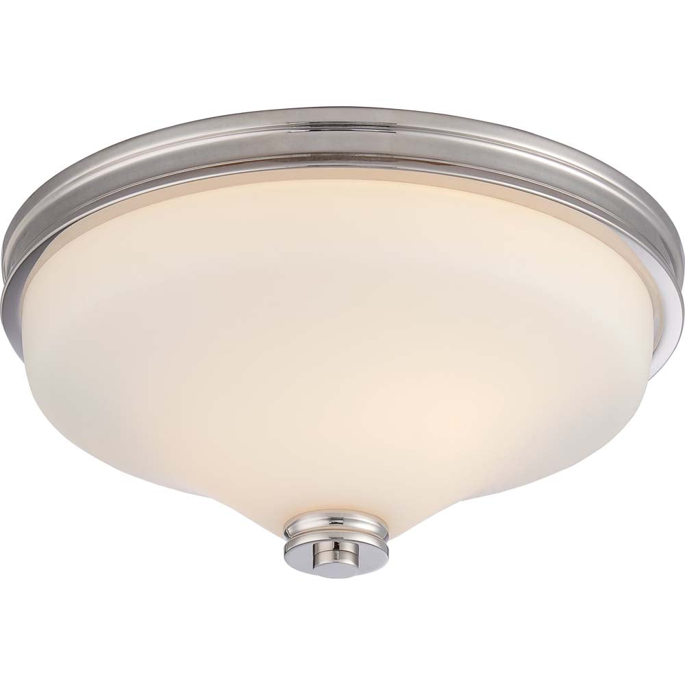 Nuvo Cody 2-Light LED Flush Mounted w/ Satin White Glass in Polished Nickel